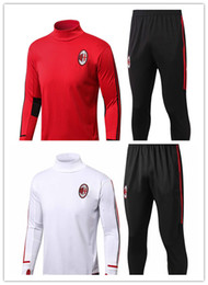 Wholesale white italian suits - 1718 Italian Rossoneri AC Milan Football training suit Andre Silva. David Calabria and Hakan alhanolu's Red and White Collar-Collared Socce