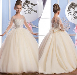 Wholesale Luxurious Communion Dresses - 2017 Luxurious Flower Girls Dresses For Weddings Jewel Neck Sheer Long Sleeves Pearls Sequins Big Bow Birthday Children Girl Pageant Gowns