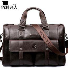 "Wholesale Large Gray Handbag - BailiLaoRen Business Briefcase Leather Man 14-15"" Laptop Handbags Large-Capacity Travel Men's Messenger Crossbody Bag P083"