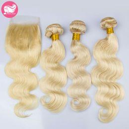 Wholesale Mixed Length Peruvian 613 - Prida Star 4Pcs Lot Virgin Brazilian Blonde Hair With Closure 613 Body Wave 3 Bundles Bleaching Blonde Brazilian Hair With Lace Closure