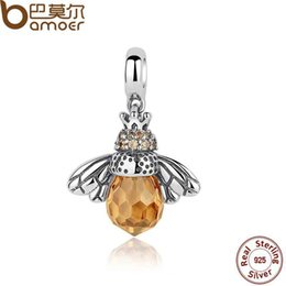 Wholesale Silver 925 Bee - yizhan BAMOER Classic 2016 New 925 Sterling Silver Orange Wing Animal Bee Pendants fit Bracelet for Women Accessories SCC035