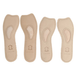 Wholesale Insole Flat Foot - Genuine Women 3 4 Leather orthotics Flat Foot Insole Arch Support Pain Relief Shoes Insert Cushion Pads for High heels boots