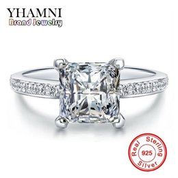 Wholesale Engagement Ring Diamond Genuine - YHAMNI Original 100% Genuine 925 Sterling Silver Rings For Women Square Diamond Engagement Ring Jewelry MR079