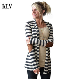 Wholesale Wholesale Sweaters For Women - Wholesale- 2017 Fashion Outerwear Women Long Sleeve Stripped Casual Strip Patchwork Womens Cardigans Coat Sweater For Women Chaqueta Oc26