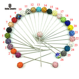 Wholesale Muslim Pins - Wholesale- 26pcs box 2016 New Arrival Fashion Colorful Rhinestone Ball Muslim Brooch Hijab Scarf Pins Can Choose Color 8mm Ball Bead