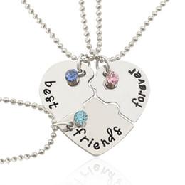 Wholesale Statement Pieces Wholesale - 2017 Hot Best Friend Forever Statement Necklace Sets 3 Pieces Puzzle Broken Heart Necklaces & Pendants BFF Collier Friendship