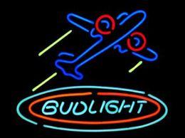 "Aereo di vetro online-Bud Light Airplane Aereo Aircfaft Neon Sign Realizzato a mano Real Glass Hotel Motel Beer Bar Negozio KTV Club Display Neon Signs 19 ""X15"""