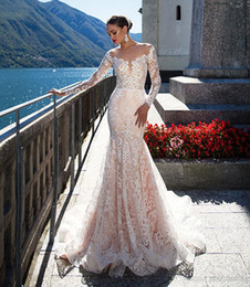 Wholesale Long Sleeved Mermaid Wedding Gowns - blush pink long sleeved mermaid lace wedding dresses 2017 Milla Nova long tulle train sheer bodice sexy wedding gowns