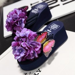 Wholesale Thick Wedge Flip Flops - Wholesale-2016 Female Beach Wedges Women's Slippers Flowers Flip Flops Fashion High Heels thick crust muffin sandals slippers 4 Colour