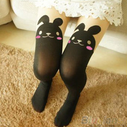 Wholesale Bunny Tails - Wholesale- Japan Cute Sexy Rabbit Animal Print Over Knee BUNNY TAIL TATTOO TIGHTS PANTYHOSE