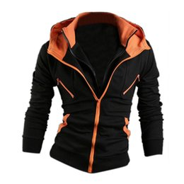 Wholesale Fake Two Pieces Jacket - Wholesale-Men Fake Two Piece Zip Hoodies Kangaroo Pocket Sweatshirt Jackets - Black + Orange Size L