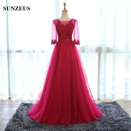 Wholesale Wine Red Elegant Evening Gown - Elegant Wine Red Pink Gray Colored Evening Dress With Sleeves Appliqued Tulle Prom Dress 2016 Long Formal Gowns abendkleider Party Dress S01