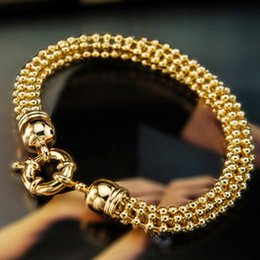 Wholesale Real Gold Jewellery - Senior 9K 9CT Real GOLD GF Womens 3D 7mm BALL Chain Wide BRACELET Bolt CLASP Jewellery commitment: Not satisfied, rapid refund Top designers