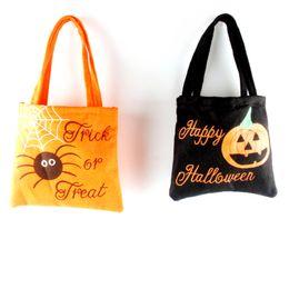 Wholesale Child Cloth Cotton Fabric - 10PCS Pumpkin spider pattern Handbag Portable Candy Non-woven bags Orange Black Children Gifts Soft cloth Props canvas bag handbag