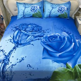Wholesale Roses Comforter - 2017 New Fashion Blue Rose Pattern 3D Bedding Set Home Textiles Twin Queen King Size Bed Sheets Quilt Pillow Case Wholesale 4PCS