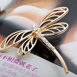 Wholesale Vintage Animal Pin Rhinestone - New Arrival Women Dragonfly Brooch Exquisite Alloy Crystal Rhinestone Brooch Pin Wedding Party Vintage Scarf Clip
