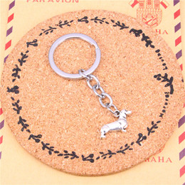 Wholesale Wholesale Chrome Accessories - New charming novelty Silver Color Metal Vintage Dog Dachshund Key Chains Accessory & Chrome plated Key Rings