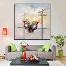Wholesale Cheap Large Abstract Paintings - free shipping Spray painting on canvas Two birds are on the wire abstract Modern large wall art cheap home decor