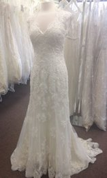 Wholesale Tulle Corded Lace - Custom Made V Neck Fit and Flare Keyhole Back Corded Lace Vestido De Noiva Robe De Marriage COR-399 Wedding Dress Bridal Gowns