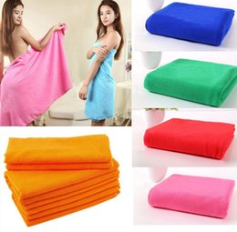 Wholesale Microfiber Travel - Superfine Microfiber Bath Towels Beach Drying Bath Washcloth Shower Towel Travel Big Towels For Adults Shower Tool 70x140cm KKA1406 300pcs