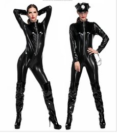 Wholesale Halloween Costume Catwomen - Wholesale Sexy PVC Spandex Cosplay Roleplay Superhero Catwomen F1 Racing Queen Halloween Fancy Dress P14032 ONE SIZE S-L