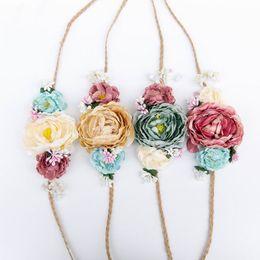 Wholesale Crown Hair Ties - Retail Floral Tie back headband nuetral flower crown girl fabric flower headband hair accessories Newborn photo prop KR048