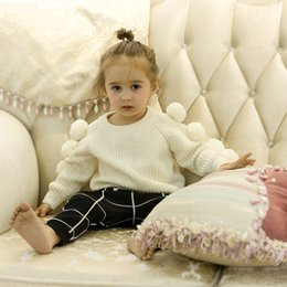 Wholesale Coat Baby Knit - Baby little girls sweater kids cute big pompon pullover tops fashion girls knitting princess jumper autumn INS kids sweater coat T0327