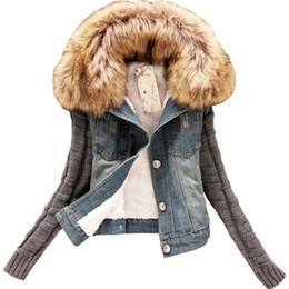 Wholesale Korean Women Xs Wool Coat - Wholesale- Coat women clothing Korean plus size heavy hair cotton wool denim jacket blue warm winter sleeve short jacket vestidos LJA122