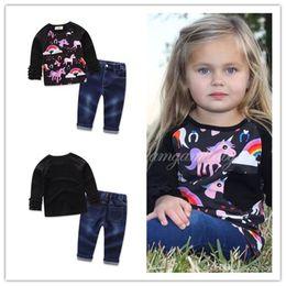 Wholesale Long Sleeve Layered Tops - Baby Girls Unicorn Long Sleeve Top+Jeans Sets Printed Ruffle Layered Long Sleeve Tops Cotton Tee Autumn Outfits Animal Ruffle