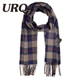 Wholesale Mens Check Scarf - Wholesale- 2016 Winter Mens Scarf Cashmere Wool Winter Long Warm Plaid Check Scarves Wrap Shawl 32*170cm A3A17742