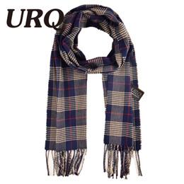 Wholesale Mens Warm Wraps - Wholesale- 2016 Winter Mens Scarf Cashmere Wool Winter Long Warm Plaid Check Scarves Wrap Shawl 32*170cm A3A17742