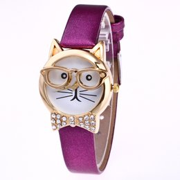 Wholesale Dress Gilrs - new fashion women ladies lovely cute glasses cat leather watch 2017 wholesale gilrs bowknot diamond dress quartz wrist watches