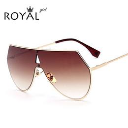 Wholesale Over Sized Sunglasses - Wholesale-ROYAL GIRL Unique Shield Sunglasses Women Rimless Over Size Sun Glasses Vintage Shades SS923