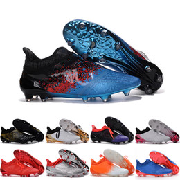 Wholesale Messi Football Boots - 2017 Wholesale Ace 16 Soccer Messi 16 + Pureagility FG Football Cleats Mens Shoes Boots FGAG39-45 Purechaos Cleats Laceless Cheap