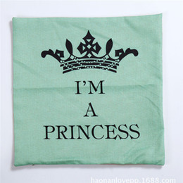 Wholesale Princess Throw - Wholesale- Pillow Case 1PC Square green color Crown pillow case slip I'M A PRINCESS letters waist throw pillow cover case drop shipping on