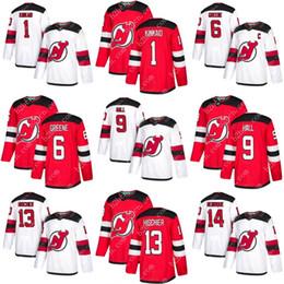 Wholesale Blue Greene - CUSTOM men youth 2018 New Jersey Devils 9 Taylor Hall 6 Andy Greene 1 Keith Kinkaid 13 Nico Hischier 14 Adam Henrique hockey Jersey