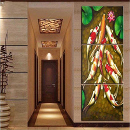 Wholesale Oil Painting Fish - vertical forms Canvas Art Koi Fish Chinese Oil Painting Feng Shui Wall Pictures for Living Room posters and prints