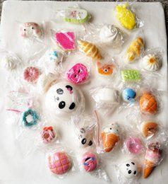 Wholesale Kawaii Bun - 30PCS 3D Kawaii Squishy Charm Rilakkuma Donut Cute Cellphone Case Straps Bag keychain Charms Slow Rising Squishies Jumbo Buns Pendant