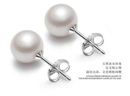 Wholesale White Stick Numbers - Earrings Studs For Women 925 Sterling Silver Earrings White Stud Earrings With Pearls 2017 Love Jewelry For Girls