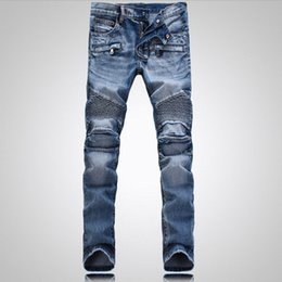 Wholesale Biker Shorts Men - Men's Distressed Ripped Skinny Jeans Fashion Designer Mens Shorts Jeans Slim Motorcycle Moto Biker Causal Mens Denim Pants Hip Hop Men Jeans