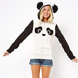 Wholesale Animal Hoodies Ears - Europe Hippie Style Kawaii Hoodies Cute Panda Cartoon Printed Sweatshirt With Ears Women Hoody Casual Cute Outwear Sudadera