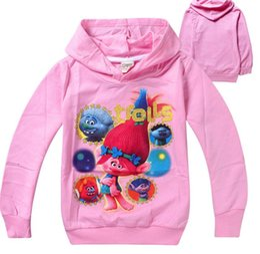 Wholesale Cosplay Sweaters - cker cartoon Trolls cosplay Costume fashion 4-10T long sleeve Hoodies sweatshirt kid children's zipper wearcoat Sweater outwear clothing