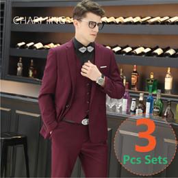 Wholesale 3pcs Tuxedo - Mens designer suits Burgundy Colour 3PCS set (suit + vest + pants) High quality fabrics Groom suit Best mens suits