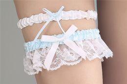 Wholesale Blue Wedding Garter Belt - 2017 High Quality New Elegant Ivory Blue Satin Wedding Garters with Lace Ribbon Bow Bridal Garter Belt Party Accessory Women Free Shipping