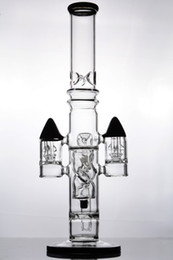 tubo de 16 polegadas Desconto base sólida 16 polegadas preto cachimbos de água Bongos de vidro com fendas foguete perc tubulação tubo de água, com 18 milímetros conjunta