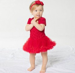 Wholesale Girls Rose Floral Dress - 2017 Summer New Newborn Baby Girl Dress Rose Flower Princess Lace Romper With Headband Toddler Clothing 0-2Y 17002