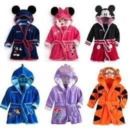 Wholesale Fleece Pajamas 4t - Children Cartoon bathrobe Minnie Mickey Mouse Coral fleece Kids Bathrobe robes Baby toweling robe Boy Girls Kids Pajamas B0815