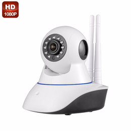 Wholesale Ip Camera Antenna - 1PCS Double antenna Camera wireless IP camera WIFI Megapixel 1080p HD indoor Wireless Digital Security CCTV IP Camera + 32G TF memory card