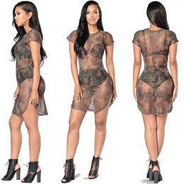 Wholesale Women S Transparent Mesh Dress - Sexy Mesh Lingerie Exotic Apparel O-neck Sexy Transparent Army Dress Side Split Unique Design