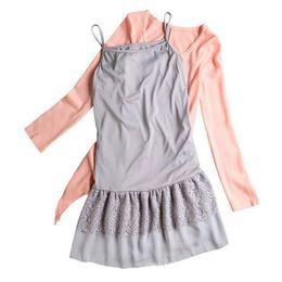 Wholesale Two Piece Knit Dresses Spring - Wholesale- 2016 New Women Dress Lace Hem Two-piece Long Sleeve Knit Dress O-Neck Cute Dress Spring Autumn Style Women Clothes Free Size